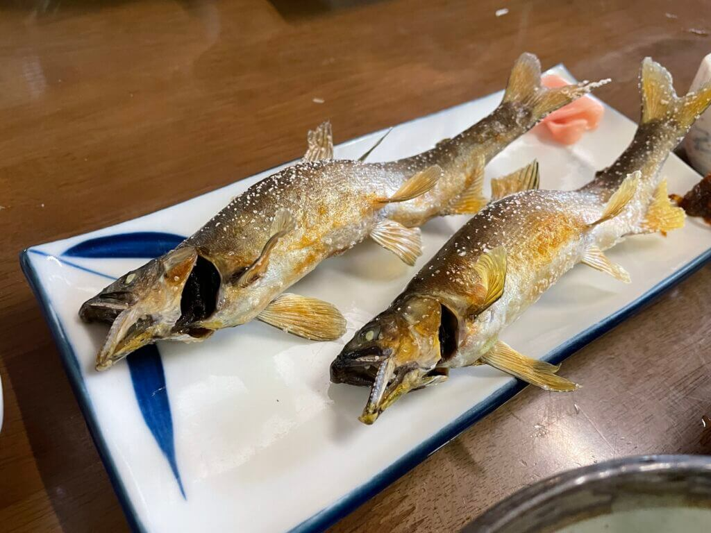 とても美味しい鮎の塩焼き